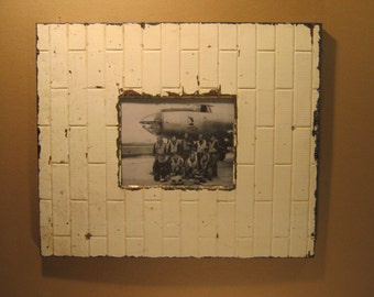 TIN CEILING Picture Frame White 8x10 Shabby Recycled chic S-1317-13