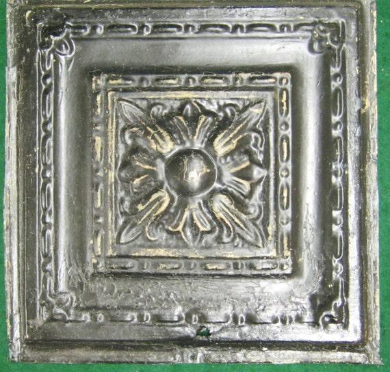 Antique Tin Ceiling Black Tile 12x12 Metal Distressed S
