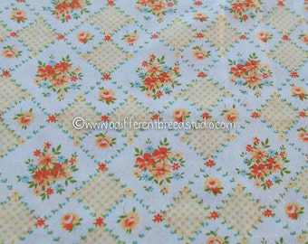 Sweet Cottage Flannel- Vintage Fabric 60s New Old Stock Gingham Daisies Roses Juvenile