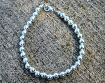 Sterling Silver balls bracelet- silver beaded 6mm ball bracelet