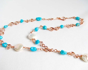 Turquoise Copper Pearl Y Necklace Wire Wrapped Handcrafted Links