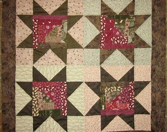 Patchwork Quilt - olive and red Japanese Sawtooth Star wall hanging