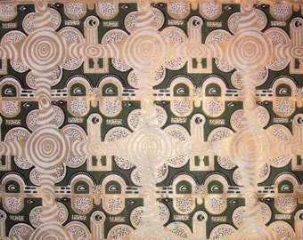 West African cotton print - 1/2 yard of green and metallic gold Shields