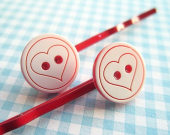 SUPER CUTE PROMO : Love Heart Button Hair Clips