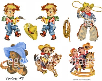Cowboys 2 Digital Collage from Vintage Greeting Cards -  Instant Download - Cut Outs