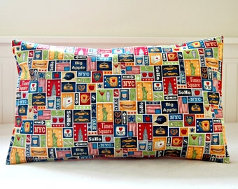 New York lumbar cushion cover, Statue of Liberty, blue red decorative pillow cover 12 x 20 inch