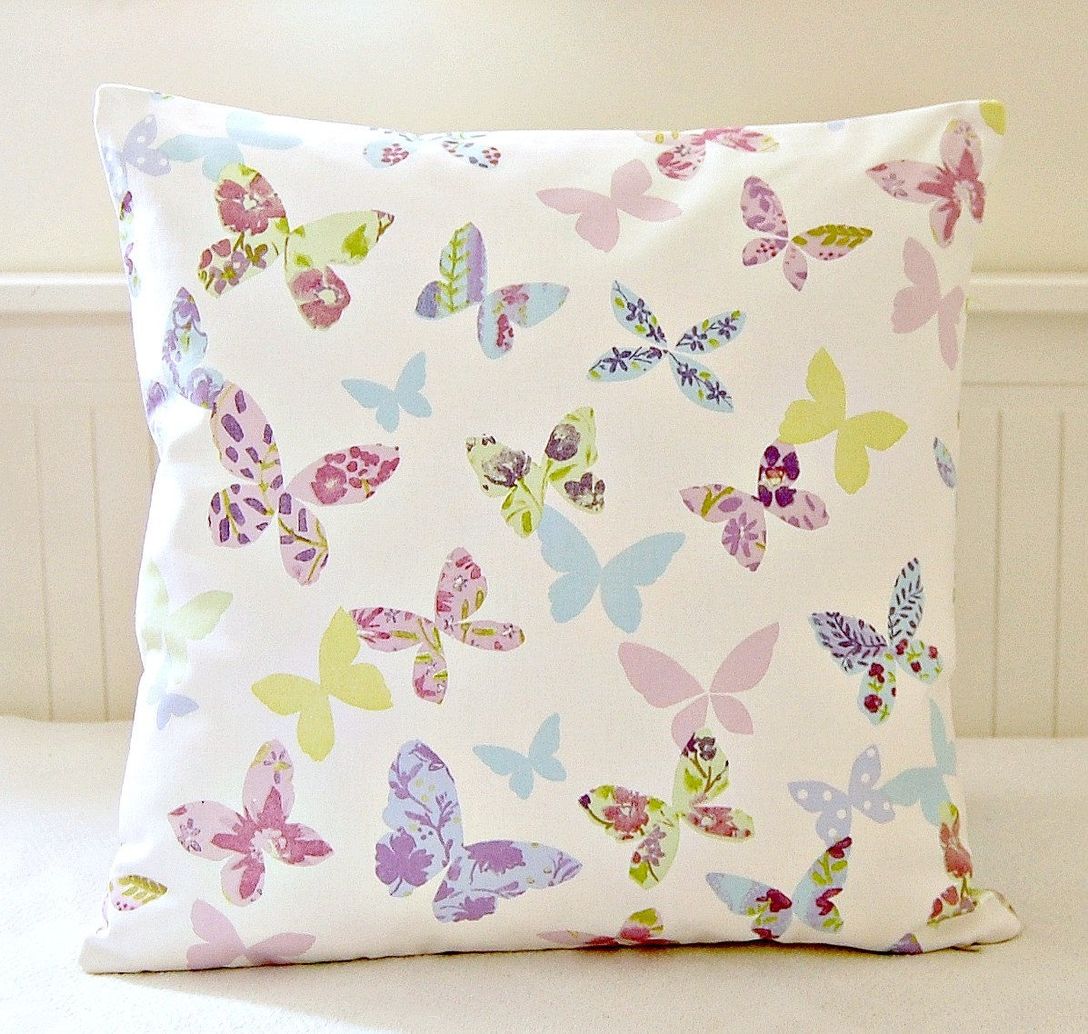 butterflies decorative pillow cover yellow pink lilac blue