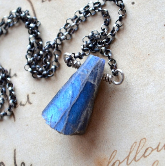 RESERVED Rough Labradorite Necklace Sterling Silver Wire Wrapped