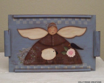 Hand Painted VintageTray, Folk Art Angel,  sheep, crow, folk art rose