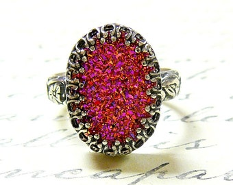 Cassandra Ring - Gothic Sterling Silver Ring with Large Oval Titanium Hot Pink Orange Drusy Quartz Druzy