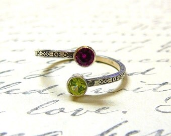 Sterling Silver Hugs and Kisses Pattern Birthstone Ring for your loved ones