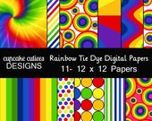 Tie Dye Papers 12 x 12 Whimsical Digital Clip art Instant Download