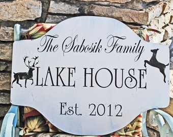 Custom LAKE House, BEACH House, CABIN signs 24x18 Personalized Cottage signs
