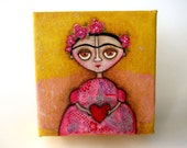 Frida - pink and yellow original folk art mixed media painting