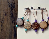 Purple and Aqua Coconut Wood Snag Free Knitting Stitch Markers