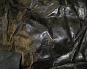 Lightweight Stiff Black Krinkle Leather Hide 4 square feet