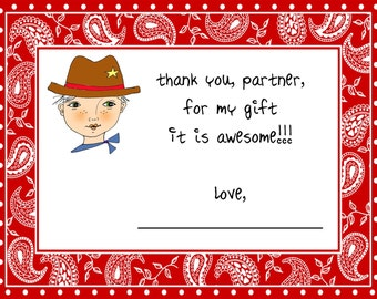Cowboy thank you note, cowboy custom note, custom personalized notes, cowboy birthday party thank you notes