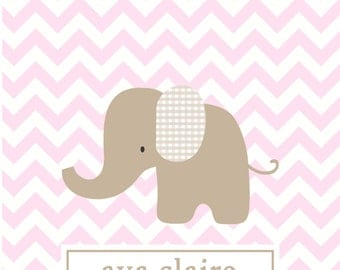 Chevron note card baby thank you notes pink chevron elephant thank you stationery baby shower gift