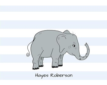 Striped children note cards personalized custom baby thank you notes baby stationery elephant notes