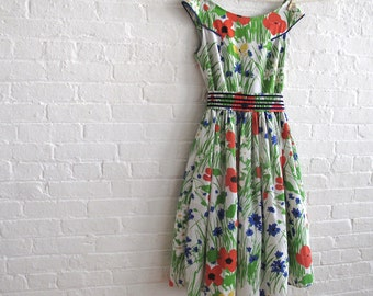 Poppies in the garden - Tea Dress - made to order