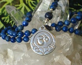 Lapis Lazuli Rosary Necklace Om Blue