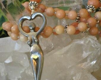 Peach Quartz Rosary Necklace Sky Goddess