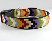 Southwestern chevron style dog collar in colorful plum, rust, olive green, maize yellow and vanilla-- you pick size