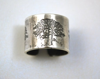 Adjustable Etched silver Tree Ring - oxidised