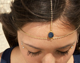 Drusy Druzy quartz gold vermeil head chain. headpiece. headdress