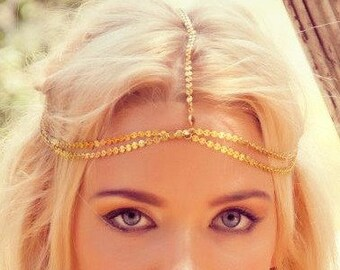 CHAIN HEADPIECE- boho chic head chain headdress chain headpiece. double chain