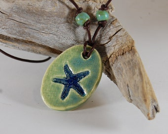 Starfish Pottery Focal Pendant Glass Infused J12