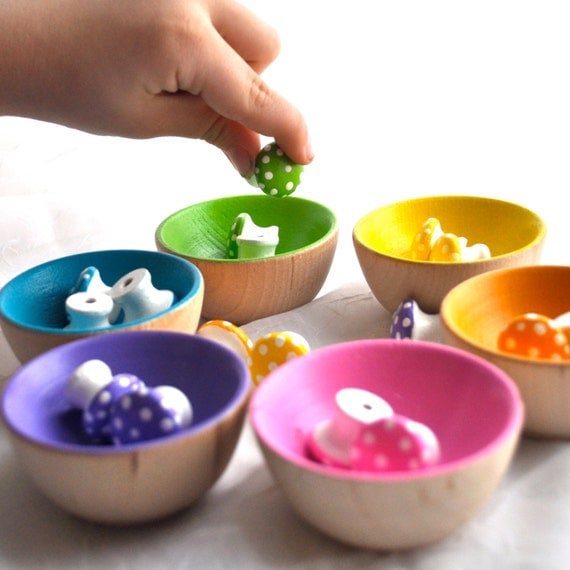 Montessori Toy - The ORIGINAL Rainbow Sorting  Mushrooms, Educational Wooden Toy / Waldorf