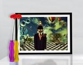 Print steampunk man poster canvas Surrealism Birthday Gift Art modern golden green tones  CANVAS giclee