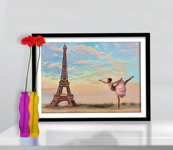 Print Paris Ballerina Ballet Paris illustration  Birthday Gift art poster Vintage canvas Parisian Ballet  eiffel tower