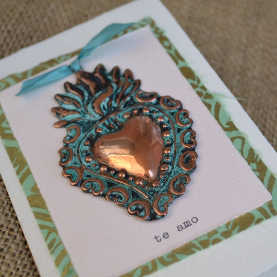 Te Amo Copper Flaming Heart Milagro Greeting Card