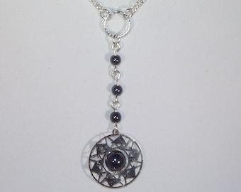 Silver and Hematite Rosary Necklace - Custom Made - Yolanda Foster Style
