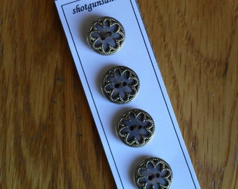 Metal Vintage Ceramic incased in filigree Goldtone Buttons
