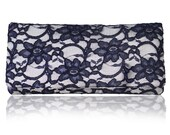 Ivory and navy lace Astrid simple clutch purse