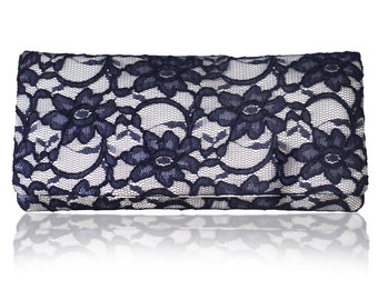 Ivory and navy lace ASTRID clutch purse, bridesmaids, mother of the bride
