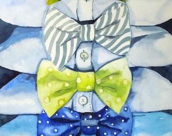 Blue Bow Tie Watercolor Art Print, Boy's Room, Giclee Print, Wall Art, Bow Ties Giclee