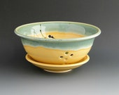 Sunshine Yellow and Grass Green Berry Bowl with plate