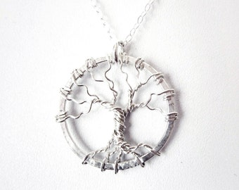 Sterling Silver Tree of Life Necklace - Sterling Silver Tree Necklace - Wire Tree Pendant - 925