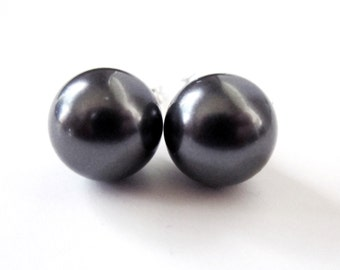 Earrings - Perfect Pearl Stud Earrings 8mm - Swarovski Dark Grey - Sterling Silver - Dark Gray - Bridesmaid - Wedding - Black