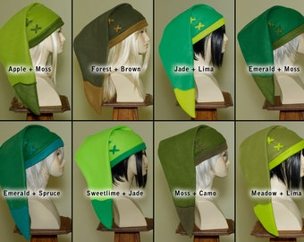 Legend of Zelda - handmade custom cosplay Link hat in Your Color Choice - fleece fabric caps