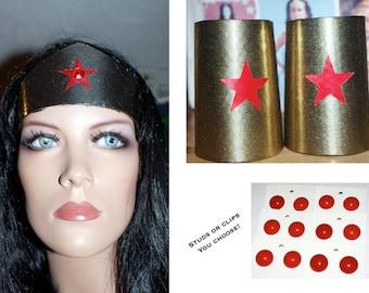 Wonder Woman Season 2 Lynda Carter Accessories... Cuffs, Tiara, Earrings...