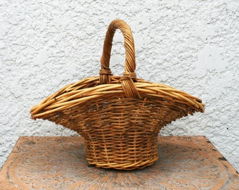 Natural Colored Flared Wicker Basket