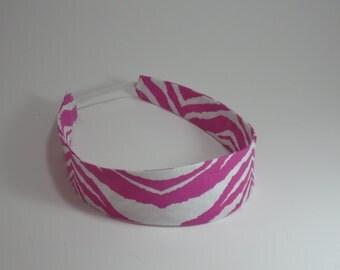 Reversible headband - Zebra print Headband - Womens headband - Adult Headband - Handmade in USA - Pink Zebra Print Headband