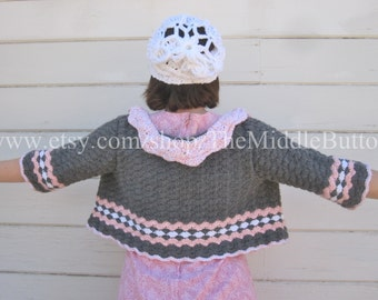 Bunny - Cozy Bolero - Size Medium to Large - In Stone, Rose, and Snow