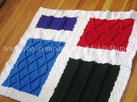 Cabled Color Blocks Afghan PDF Pattern