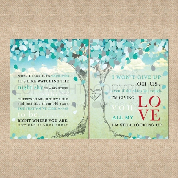 Wedding Song Lyrics Print - Personalized Keepsake, gift / wedding / anniversary gifts // Canvas or Art Print Set // W-L09-2PS